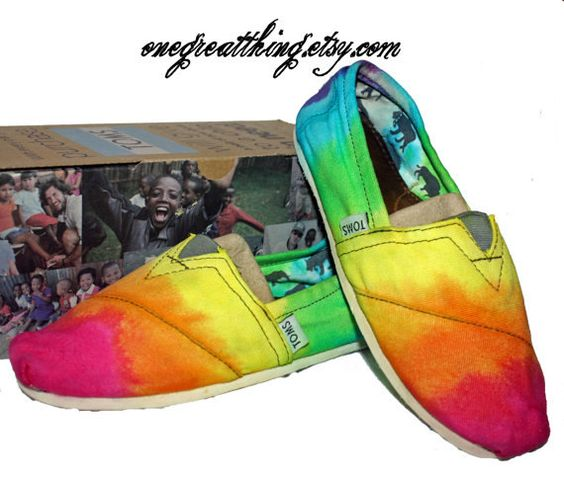 TOMS Tie Dye Shoes  Hot Fashion Staple  Bright by 1GreatThing, $90.00