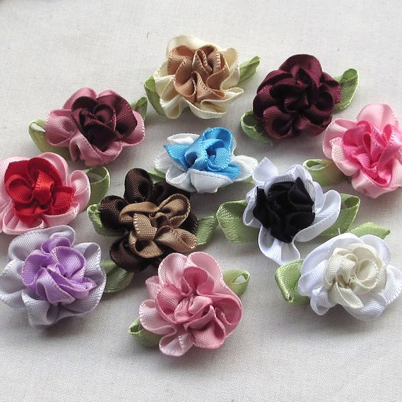 U pick 200/40pcs 2tone Satin Ribbon Flowers Bows Appliques Craft Wedding  #ChenxiCraft