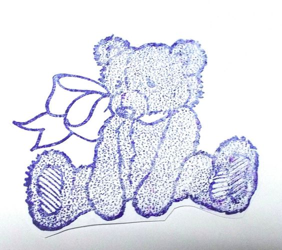 Teddy Bear toy rubber stamp sitting with bow oin neck vtg 80s style unmounted #DRS #Teddybears