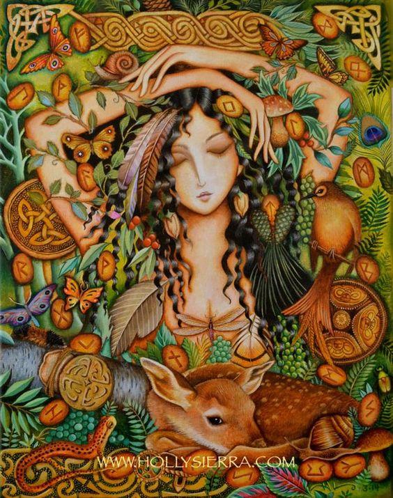 Una impresión de lona de 7 x 9 de la pintura ORIGINAL Rune feliz para por Holly Sierra; 14 x 18 pintado en acrílico sobre lino belga En los bosques nórdicos de Misty, entre las ramas oscuras y sobre el suelo del bosque iluminado por la luna... Una diosa nórdica lanza las runas antiguas frente a un
