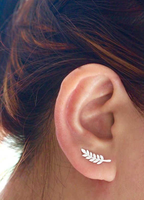 Leaf Ear Cuff, Ear Climber, Sterling Silver Ear Cuff, Leaf ear crawler, Silver…
