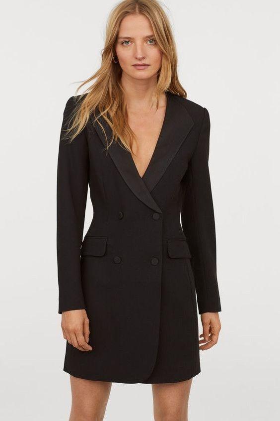 2019 Hm Elbise Modelleri Siyah Kisa Derin V Yakali Ceket Elbise Elbise Moda Stilleri Elbise Modelleri