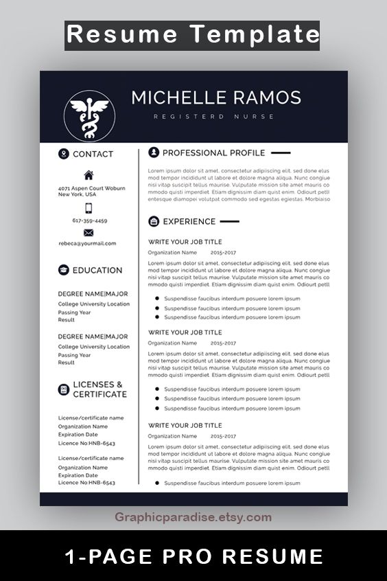 Nurse Resume Cv Template Medical Cover Letter Mac Pc Etsy In 2021 One Page Resume Modern Resume Template Resume Template