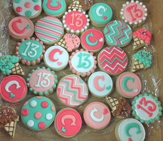 Mini Girly 13th Birthday Cookies!
