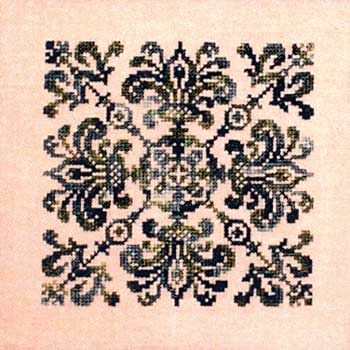 """pattern for sale $6 on nordic needle. Four de Lys is a delightful design accomplished with overdyed thread.  Let the thread create a unique 4.9"""" design.  Stitch count is 73 x 73 over two threads."""