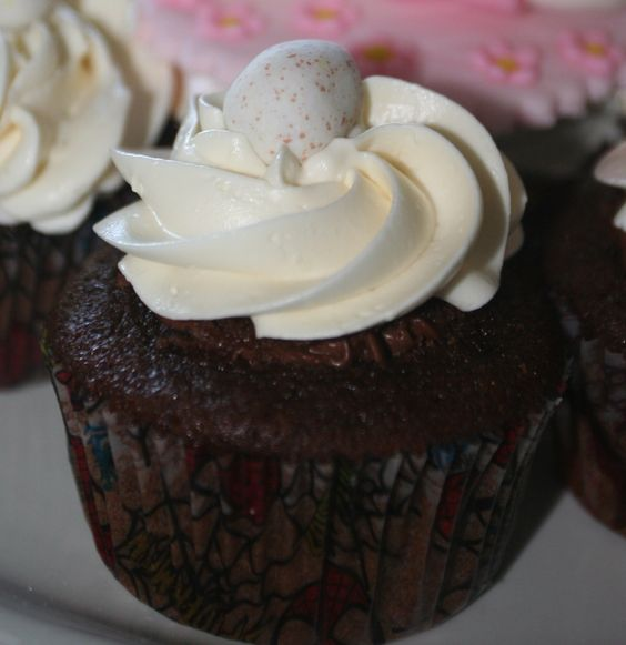 Double chocolate Easter cupcake.