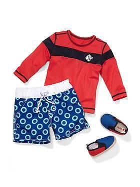Baby Gap rash guard, swim trunks and slip-on shoes.
