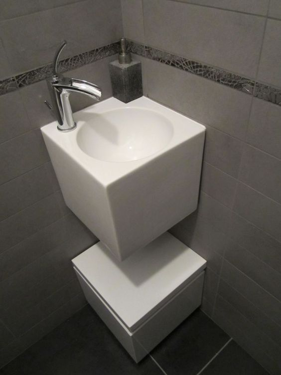 Photo lave mains wc rdc d coration wc deco for Deco wc gris