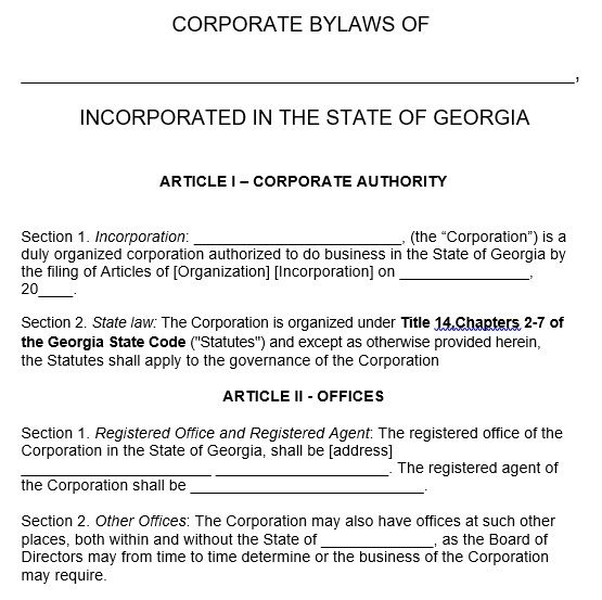 Corporate Bylaws Form In 2021 Business Template Templates Corporate Law
