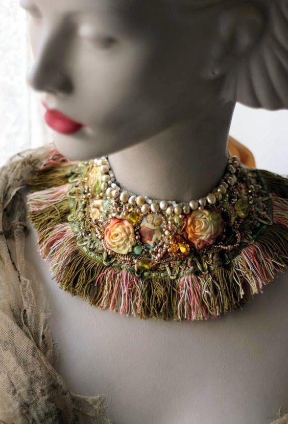 Renaissance- bold statement collar  necklace with vintage textiles, hand embroidered and beaded.