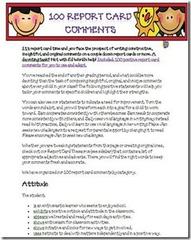 Teaching Resource  Sample report card comments for General  English and Mathematics