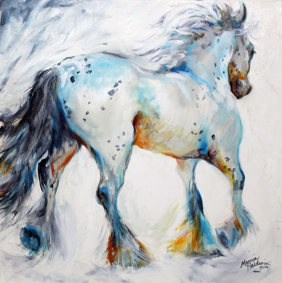 GYPSY VANNER MOTION ~ a painterly sketch in oils by MARCIA BALDWIN