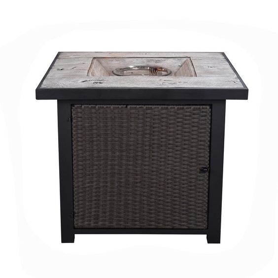 Endless Summer 30 In W Bronze Finish Steel Base Faux Slate Mantel Lp Gas Fire Pit With Electronic Igition And Lava Rocks Gad1401m Portable Propane Fire Pit Gas Fires Fire Glass