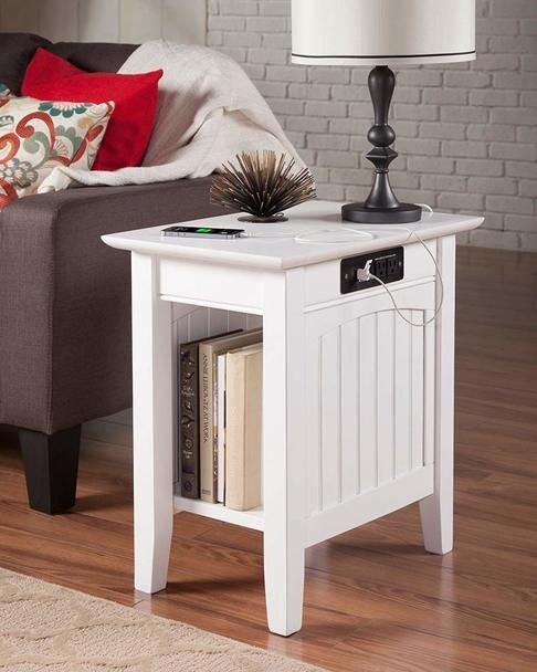 Rv Side Table With Side Usb Charging Station And Power Outlets White Atlantic Furniture Furniture Side Table Wood