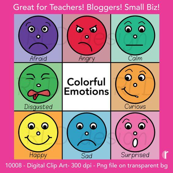Digital Clip Art Colorful Emotion Faces By Rebeccaldesign