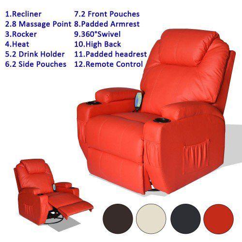 HomCom Reclining Rocker PU Leather Swivel Chair Includes