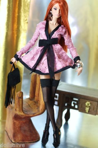dollsalive outfit,for fashion royalty, fr2 pink dress, leather booties,bag: