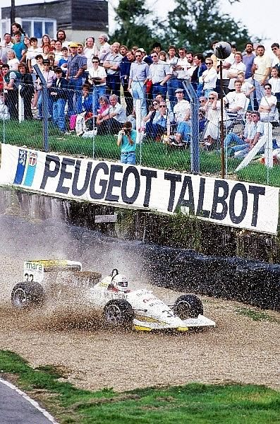 """""""Gabriele Tarquini (ITA) FIRST Racing March 87B runs into the gravel trap, but recovered to take seventeenth position"""" : Gabriele Tarquini - March 87B [36] Cosworth DFV/Mader - First  Racing Team - Brands Hatch - 1987 Intercontinental Formula 3000 Championship, round 7 - © Sutton Motorsport Images"""