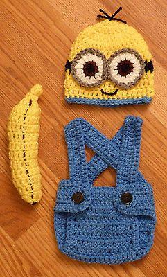 How CUTE!! --Newborn Baby Minion Crochet Hat Diaper Cover Overalls Banana Gift Photo Prop