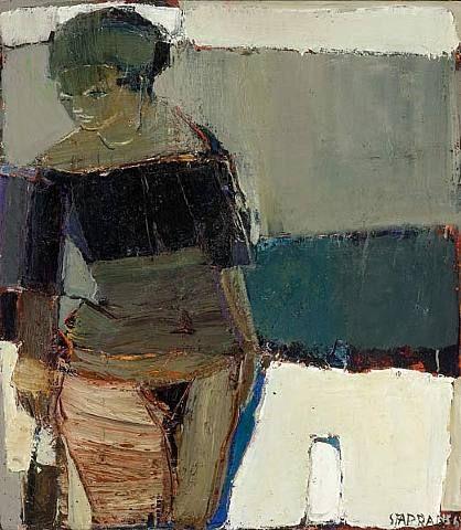 Beach in Spain, Raimonds Staprans. Latvian Painter. Active in America. born in 1926.