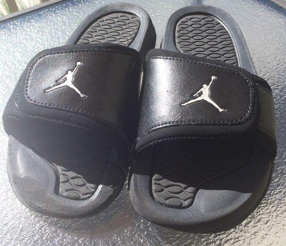 Grade School Jordan Hydro 2 Slide velcro Sandals 313194-001 BlacK Size 4Y #Jordan #Sandals