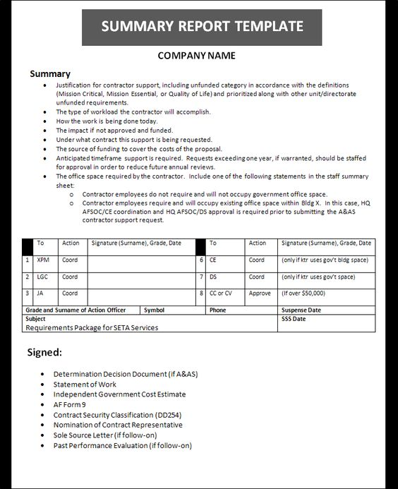A summary report is usually prepared for a company or organization - summary report template