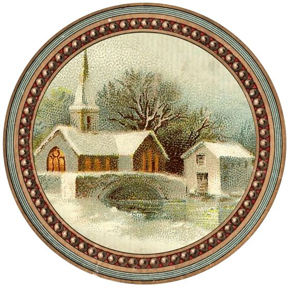 """Peace on earth... Winter church snow scene ~ approx. 5"""" round graphic"""