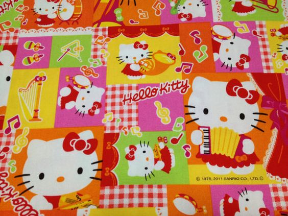 Hello kitty cotton fabric One yard  pink color by HanamiBoutique