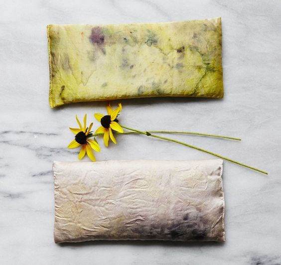 A collaboration by Jessa Blades and Cara Piazza.These silk eye pillows were naturally hand dyed in a bundle with hot steam extraction using with flowers, berries and leaves.Filled with lavender and flax seed, these eye pillows will help ease and melt all of your stress away.*** And when we were done dyeing the fabric- we got to throw all of the flower into the compost!Fall Editions 2014 Dusty rose : rose, zinnia, calendula, coreopsis and eucalyptus.Golden: mallow...