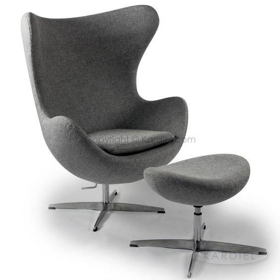 Egg Chair & Ottoman, Dacite Retrospeck Twill Fabric |