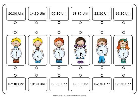Uhr lernen arbeitsblätter  Wie spät ist es? - | Uhrzeit lernen, Uhrzeiten und Legasthenie