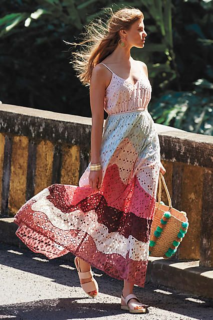 colorful eyelet maxi dress