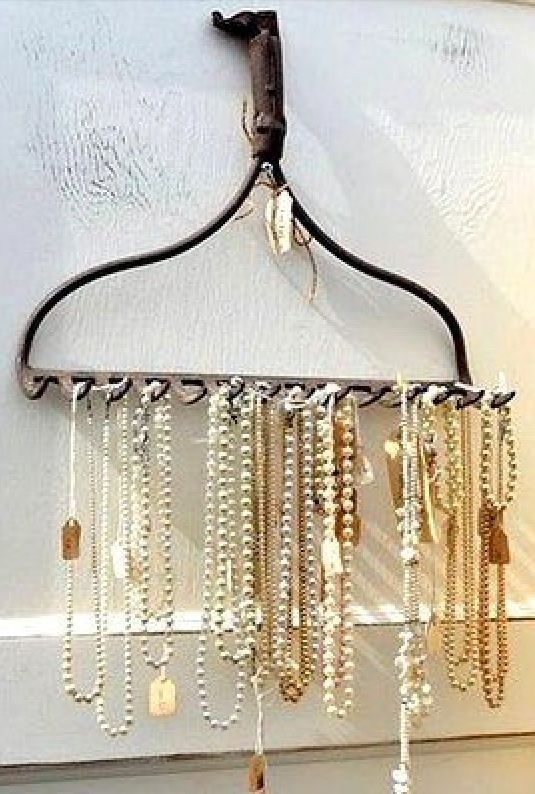 Vintage Shop Inspiration •~• rake as necklace display