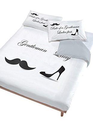 Italian Bed Linen Juego De Funda Nórdica Lady Gentleman (Blanco/Negro)