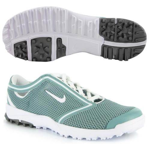 The Nike Air Summer Lite golf shoes are constructed of mesh and synthetic leather uppers with visible Nike Air cushioning inserts in the heels, which combine with full-length comfort sockliners and Phylon midsoles for impeccable comfort.'
