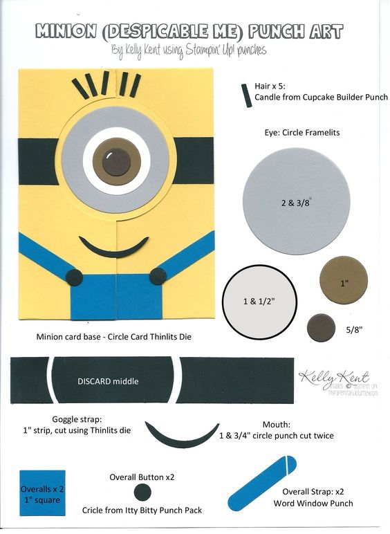 """Minions are everywhere!!! I'm not sure whether it's the Pharrell William's """"Happy"""" song, but minions are definitely all the rage at the moment. There are lots of ways to make minions.. circles, ovals, owl punch, card front …  But the one I like the best is inspired by Linda Higgin's clever use of the Circle Flip Thinlit Die. I wanted to try it out.  And then I wanted to share it with you so the papercraft world can be filled with minions!!!  Kelly x"""