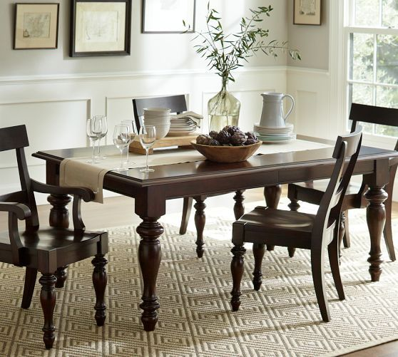 Charles Extending Dining Table  Alfresco Brown Finish Glamorous Dining Room Pottery Barn Inspiration Design