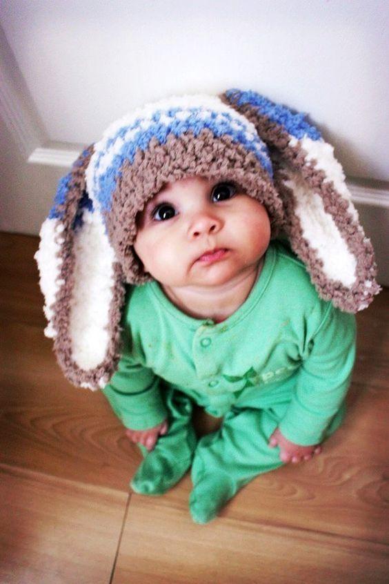 12 to 24m Baby Hat Bunny Hat Stripe Beanie - Crochet Boy Toddler Hat in Brown Lagoon Blue Cream Rabbit Baby Hat Photo Prop