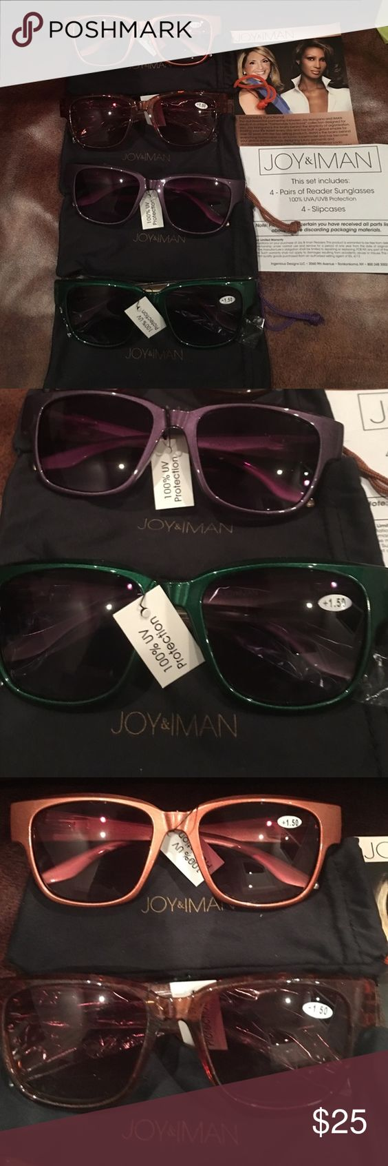 BRAND NEW 4 PIECE SET JOY& INMAN READER SUNGLASSES FULL SUNGLASS FRAME IS ALL 1.5 READER GLASSES. COMES WITH PURPLE, GREEN, ORANGE AND BROWN ENOUGH FOR ALL YOUR OUTFITS TO MATCH AT LEAST ONE PAIR. THEY ARE HELD IN A SLIP COVER WHICH CAN BE USED TO CLEAN THE GLASSWARE ALSO. THESE ARE VERY VERY NICE!! JOY & IMAN Other