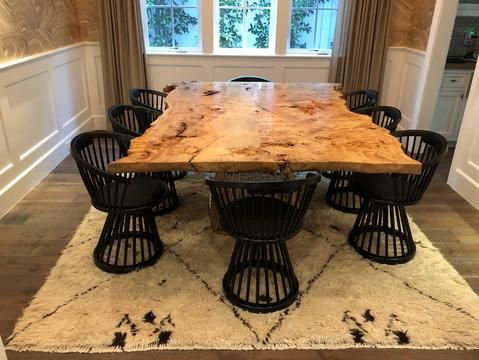 Burled Maple Live Edge Dining Room Table And Console Dining Room
