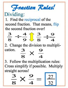 Fraction Rules Teaching Math Studying Math Math Lessons