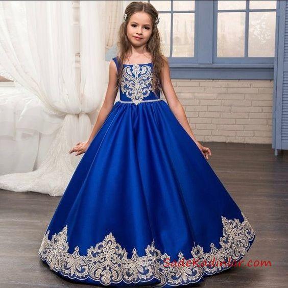 2019 Cocuk Abiye Modelleri Saks Mavi Uzun Kolsuz Nakis Islemeli The Dress Nedime Giysileri Parti Elbiseleri