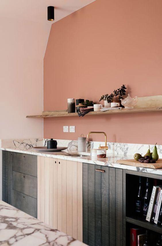 cuisine rose pastel et noire scandinave