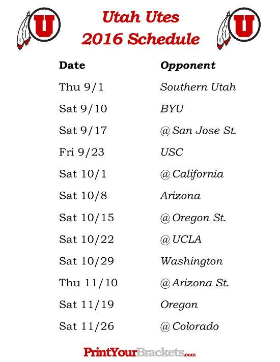 Printable Utah Utes Football Schedule 2016