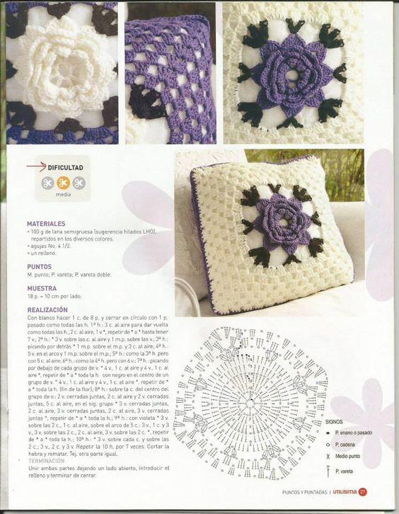 "#605 Cojín ""Bien romántico"" a Crochet"