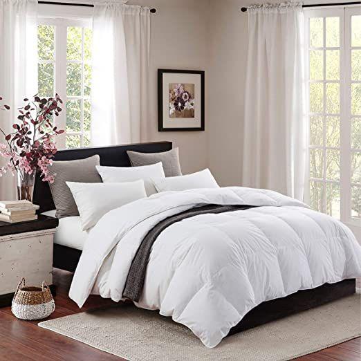 Topllen All Season Down Comforter 100 Cotton Downproof Hypoallergenic Fabric Quilted Fluffy Comforter In 2020 Fluffy Comforter Down Comforter White Down Comforter
