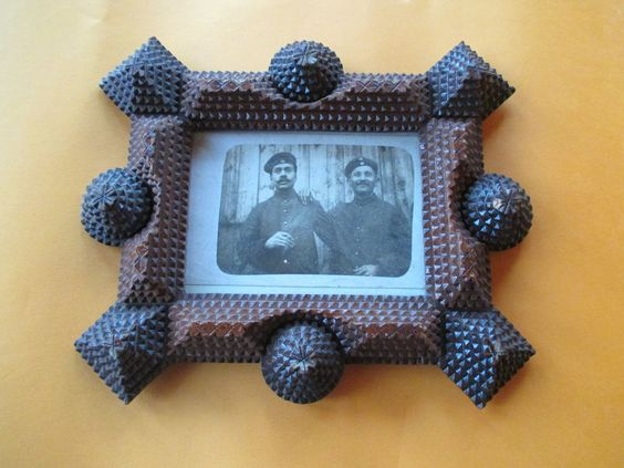 Tramp Art frame with Picture of two Soldiers.