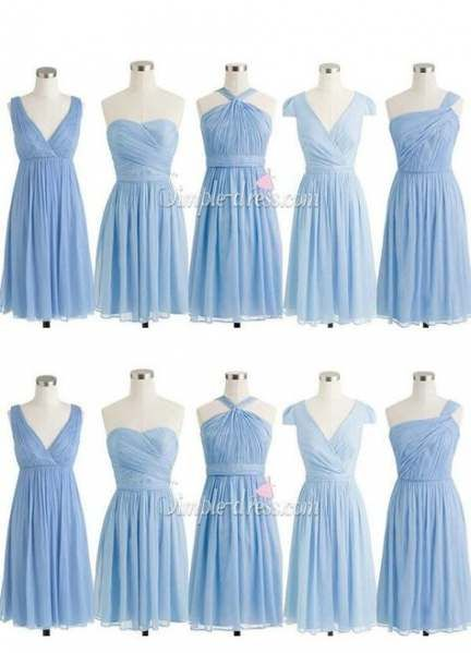 35 Ideas Wedding Dresses Rustic Blue Bridesmaids Light Blue Chiffon Bridesmaid Dress Blue Bridesmaid Dresses Short Short Bridesmaid Dresses
