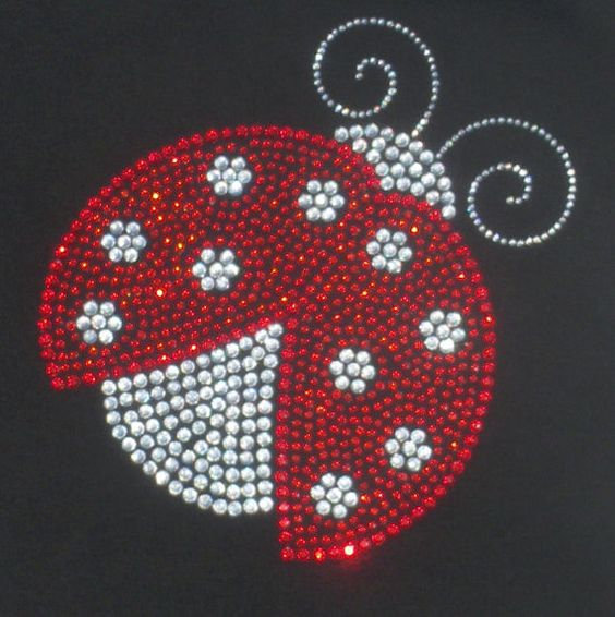 "6.4"" red/clear LADYBUG rhinestone iron on transfer - lady bug hot fix applique WHOLESALE available"