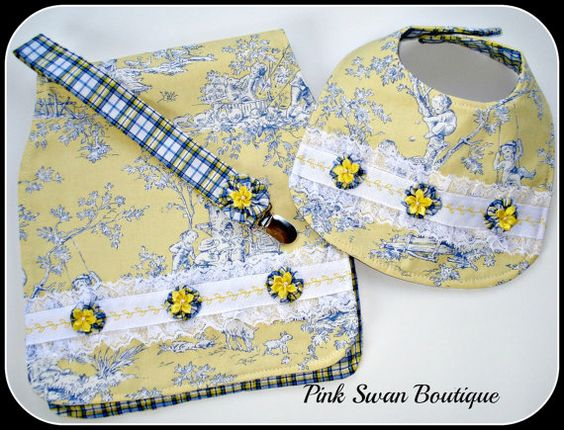 Yellow Baby Gift SetBibBurp ClothPacifier by PinkSwanBoutique, $24.00